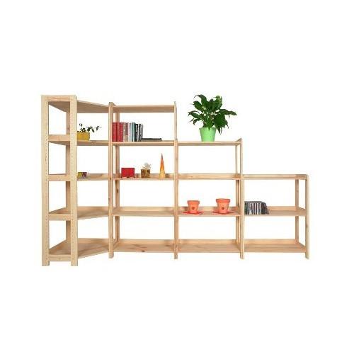 Holz-Eckregal, 6 Regalböden, 2040 x 600 x 335 mm