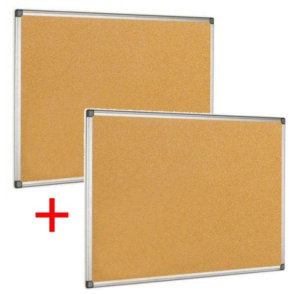 Kork-Pinnwand mit Aluminiumrahmen, 120x90 cm, Aktion 1+1 Gratis