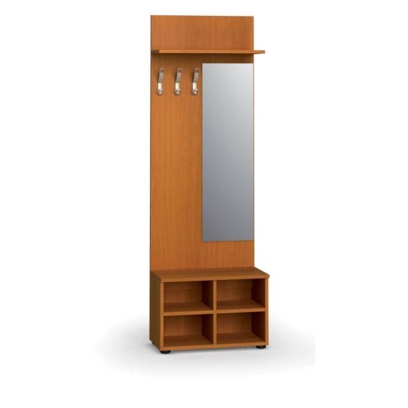 Garderobenwand, Schuhregal + Spiegel, 3 Kleiderhaken, Ablage, Kirschbaum