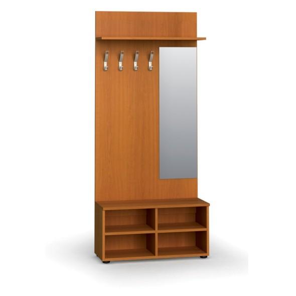 Garderobenwand, Schuhregal + Spiegel, 4 Haken, Ablage, Kirschbaum
