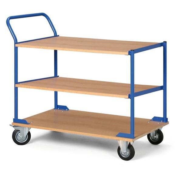 Regalwagen, 3 Holzspanregale, Tragfähigkeit 100 kg