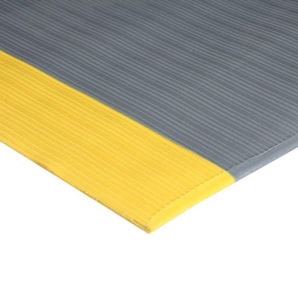 Anti-Ermüdungsmatte mit Nuten und gelben Rändern, 0,9 x 10 m