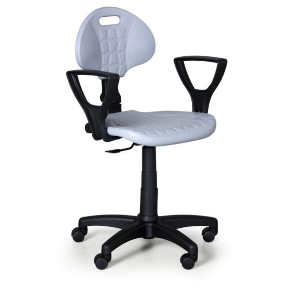Arbeitsstuhl aus PU-Schaum mit Armlehnen, Dauerkontakt, für weiche Böden