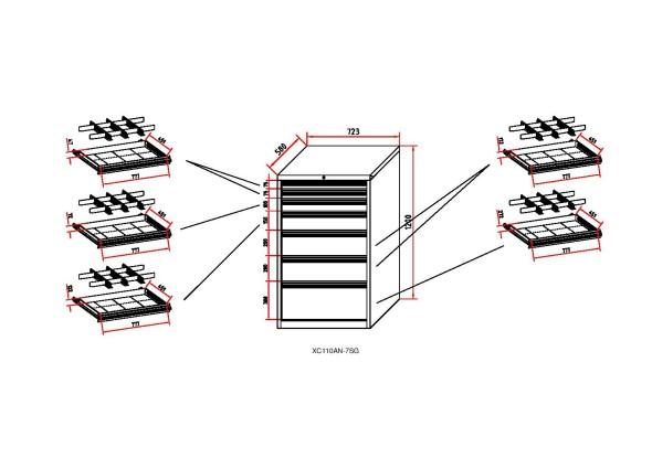 Werkstatt-Schubladenschrank BL 1000, 7 Schubladen, Breite 723 mm