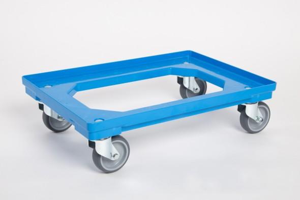 Kunststoffwagen für Transportkisten 600 x 400 mm, 250 kg, graue Gummilauffläche