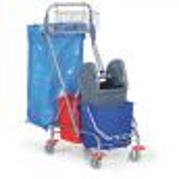 Komplett Set: Reinigungswagen, Doppelfahreimer Chrom mit Mopp-Presse + Mopp