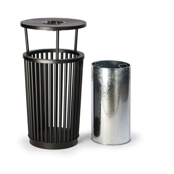 Außen-Mülleimer mit Aschenbecher, 24 L, Metall