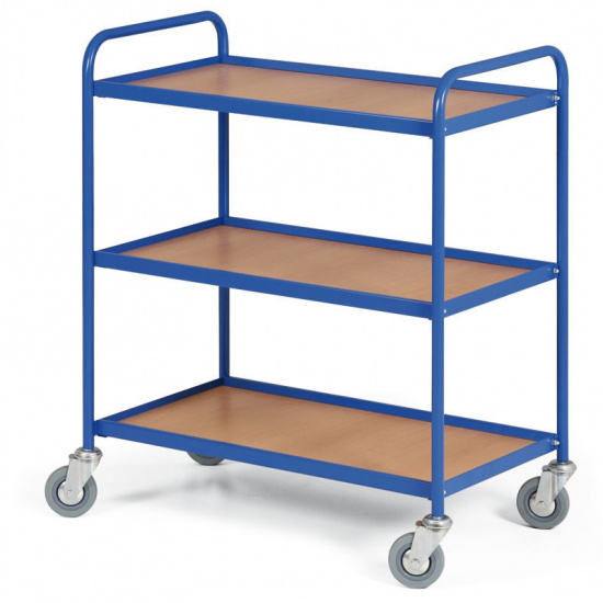 Regalwagen mit 3 Regalen 750 x 420 mm, blau