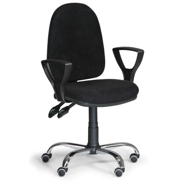 Bürostuhl TORINO mit Armlehnen, Synchronmechanik, schwarz