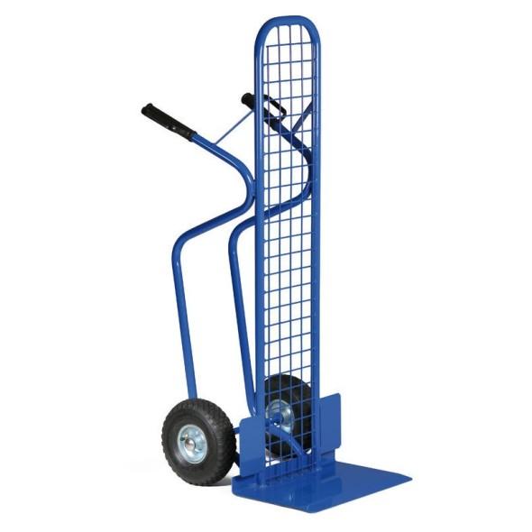 Stahlrohr-Stapelkarre mit Gitter, Tragfähigkeit 250 kg, Vollgummiräder