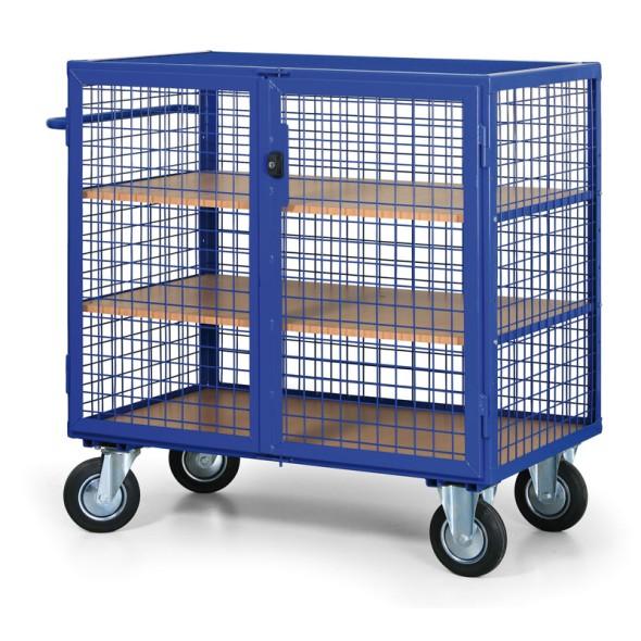 Abschließbarer Schrankwagen mit Drahtwänden, 3 Regalböden