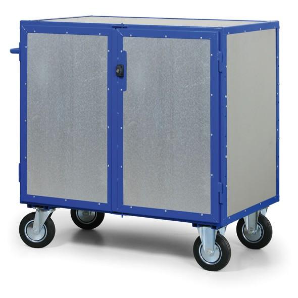Abschließbarer Schrankwagen mit Blechwänden, 3 Regalböden