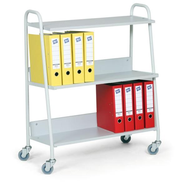 Bürowagen für Ordner, graue Regalböden