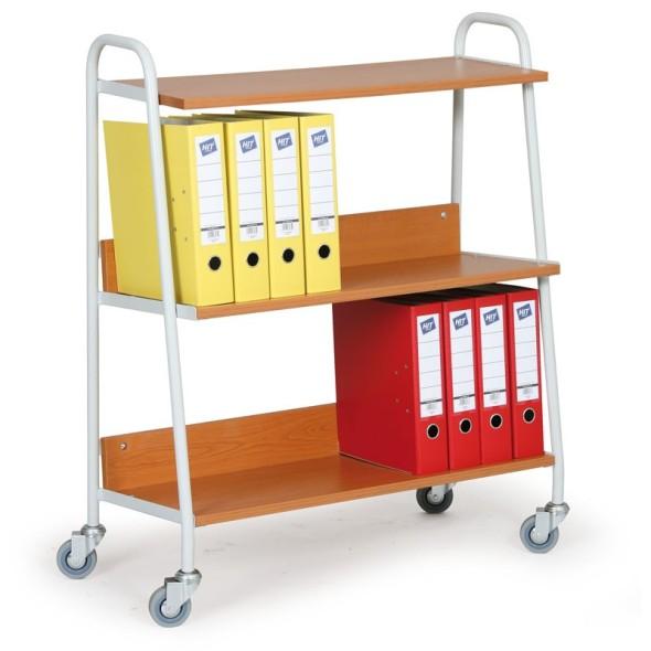 Bürowagen für Ordner, Regalböden Kirschbaum