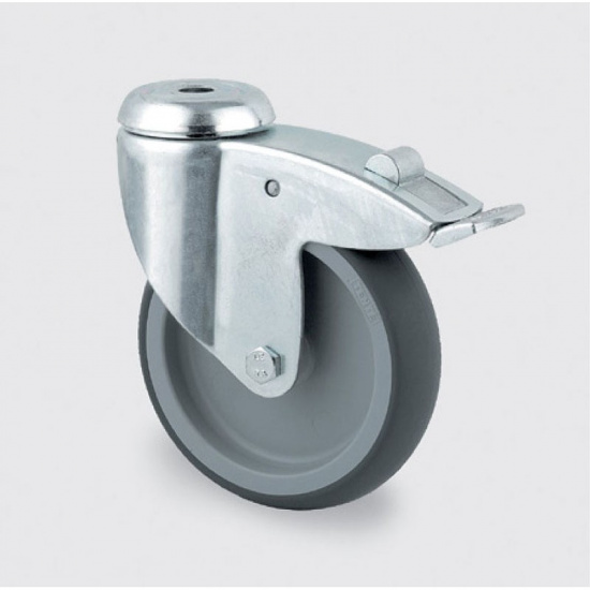 Armaturenrad, grau, 125 mm, drehbar mit Bremse, Mittelloch